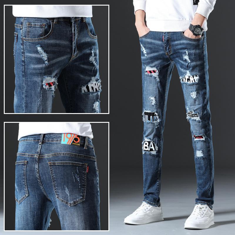 2020 1975 Yeni Streetwear Hip Hop Streç Delik Düz Rozeti Pantolon Patlayıcı Metal Işlemeli Yıkanmış Eski Vintage Kot Uzun Pantolon