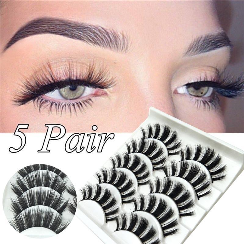 5 pares de imitación de visón Herramientas del pelo de las pestañas falsas naturales largas pestañas hechas a mano tenues Crueldad-libre del entrecruzamiento de las pestañas Maquillaje