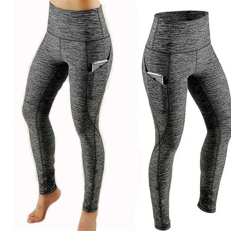 Women Pocket Leggings High Waist Sports Running Tights Sexy Push Up Yoga Pants Quick Dry Gym Legging Ladies Fitness Trousers 050713