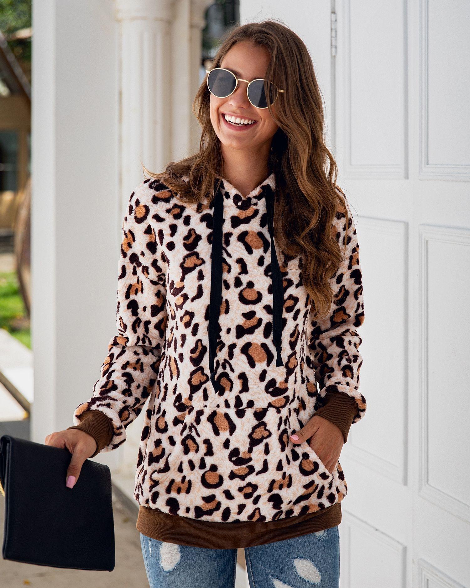 SNQ1A 2020 осень и зима сексуальный леопардовым принтом кармана шнуровке плюшевых 800141 2020 осень и зима сексуальный леопардовый принт карман шнуровке балахон