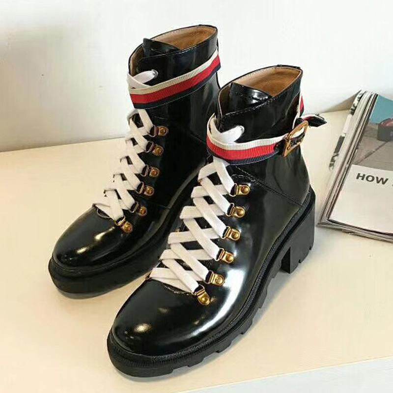 estrela de couro de couro mulher mulheres sapatos de moda curto outono grife tornozelo moda inverno das mulheres calçam o tamanho 35-40