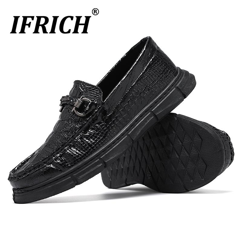 2020 Otoño hombres Mocasines Negro PU cuero de los hombres del zapato Zapatos planos de la manera Marca zapatillas usable duro Para Hombres tamaño 39-44