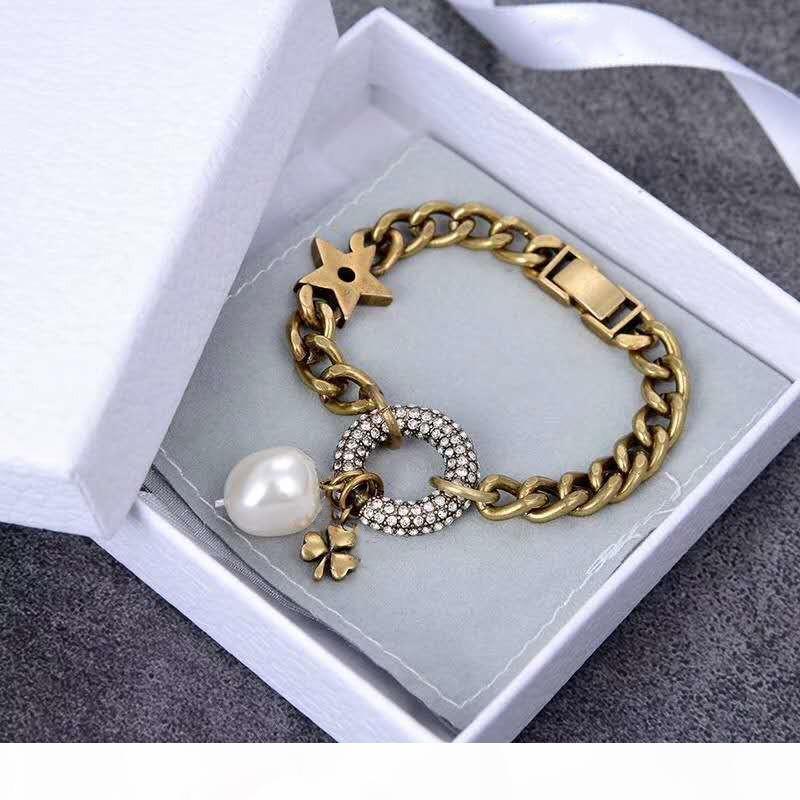 R 2020luxury Bespoke Bracelet en laiton avec perle incrustée Bracelet élégant