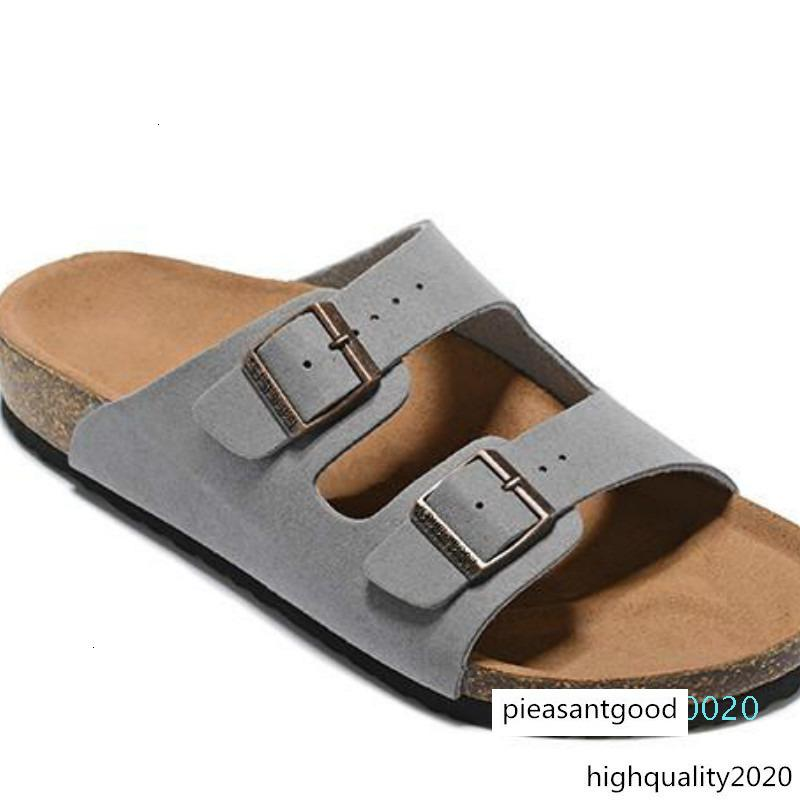 Sandali piatti Scarpe Uomo Casual doppia fibbia famosi Arizona Summer Beach Top Quality Genuine Leather Pantofole Con Orignal Box C20