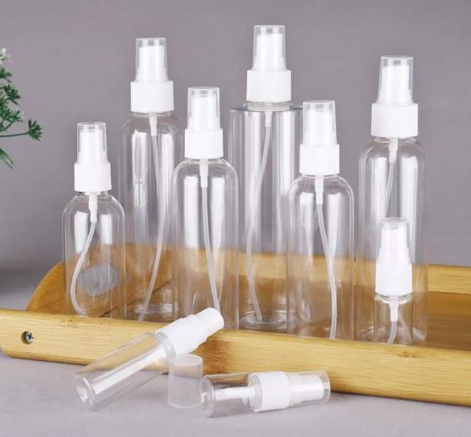 Portáteis pequenos de plástico vazio frasco de spray garrafas transparentes recarregáveis 10ml / 30ml / 50ml / 60ml / 100ml SN4483