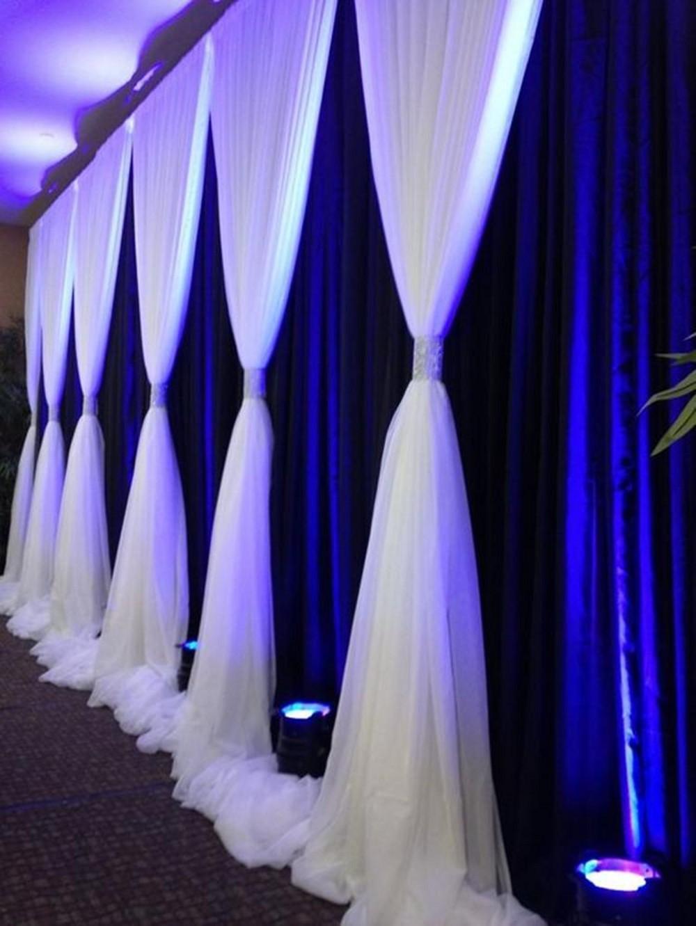 3м * 6м королевский синий Свадьба Фон с белыми Volie Valance Свадьба заднике сцены Фотография фона драпировки Swags Шторы
