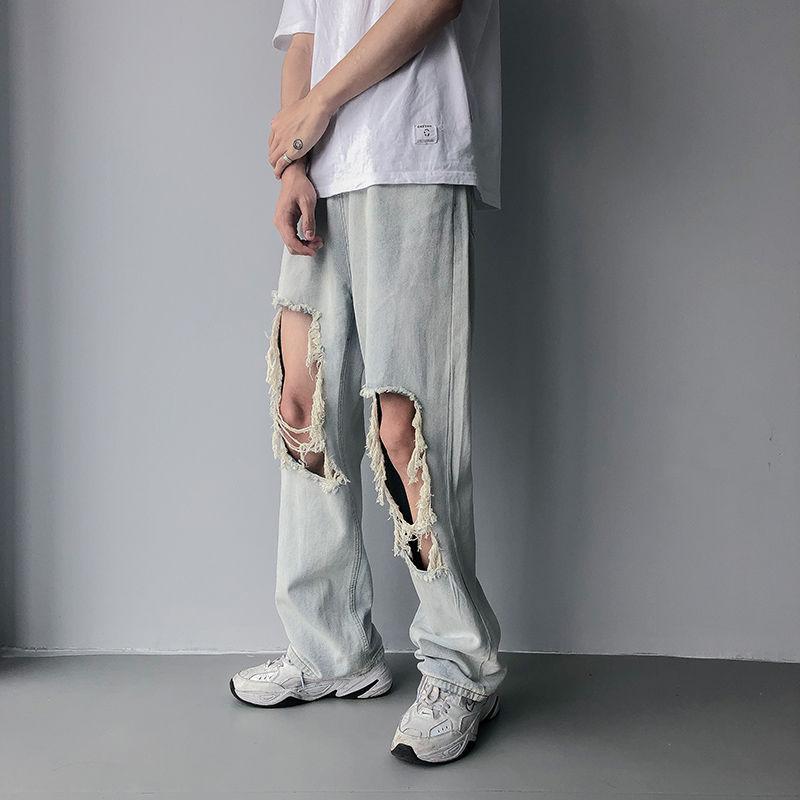 Erkekler kot 2020 ilkbahar ve yaz yeni düz renk yakışıklı delikler Retro delikler kot genç kişilik moda trendi erkek gevşek