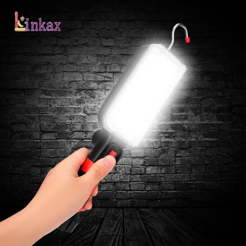 34 SMD LED-Arbeits-Taschenlampen 360 ° Rotation Auto-Reparatur-Arbeitslampe 18650 Powered Torch Magnet Haken Zelt Camping Laterne