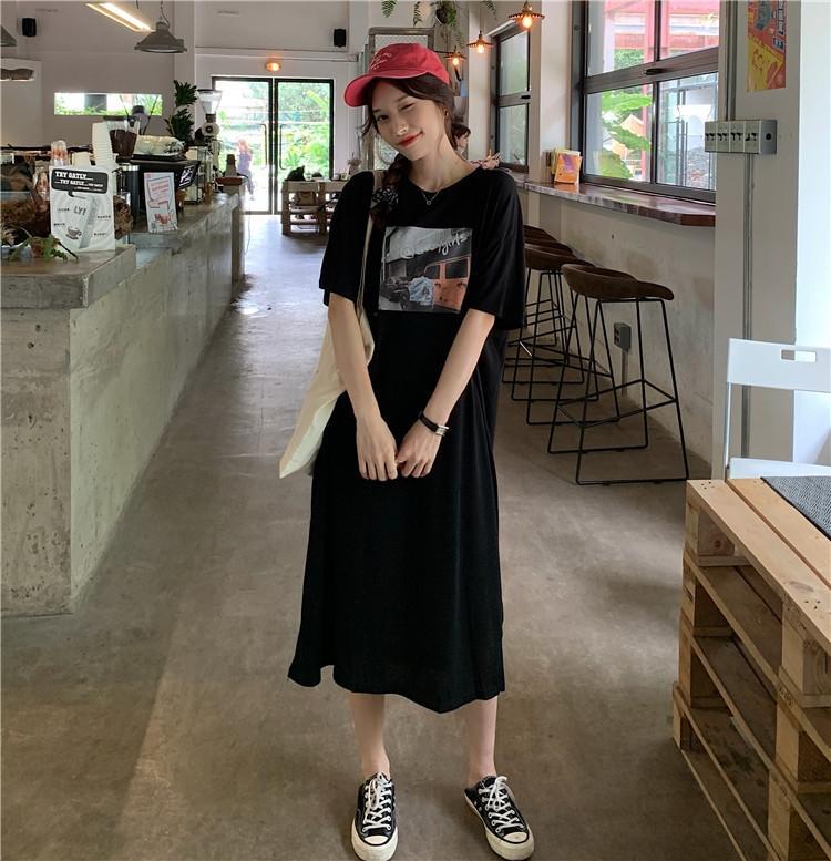 7cTqH impreso punto de Verano 2020 nueva falda del vestido de las faldas de las mujeres coreanas del estilo de Hong Kong suelta RNDFu de manga corta camiseta larga de manga corta