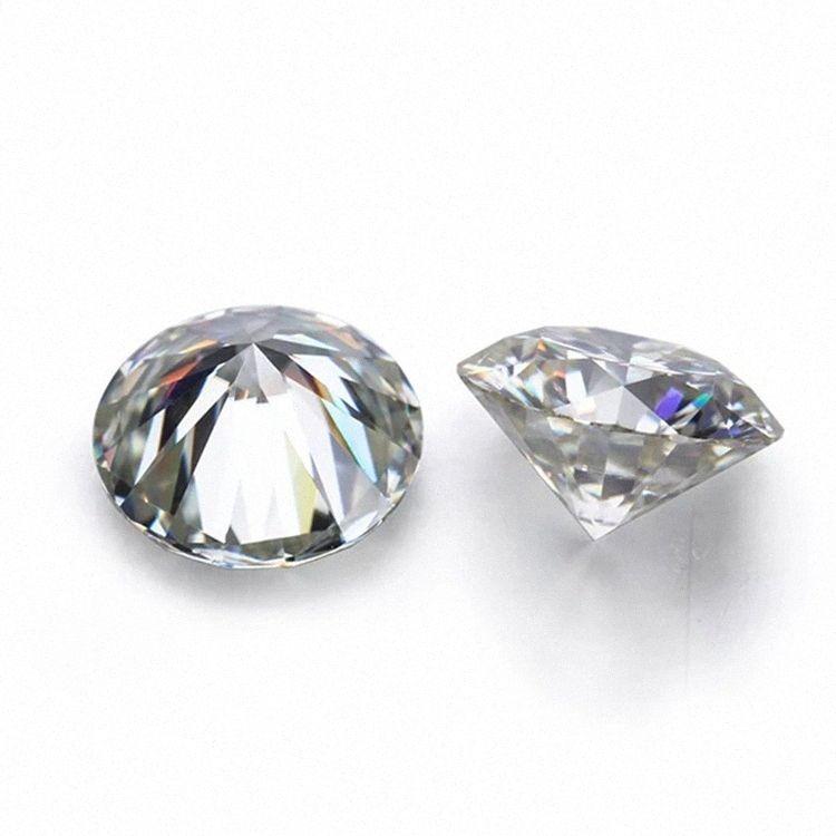 D Branco a cores VVS Rodada forma solta Synthetic Moissanite Diamante 0.6CT para 2CT excelente corte 6ZrR #