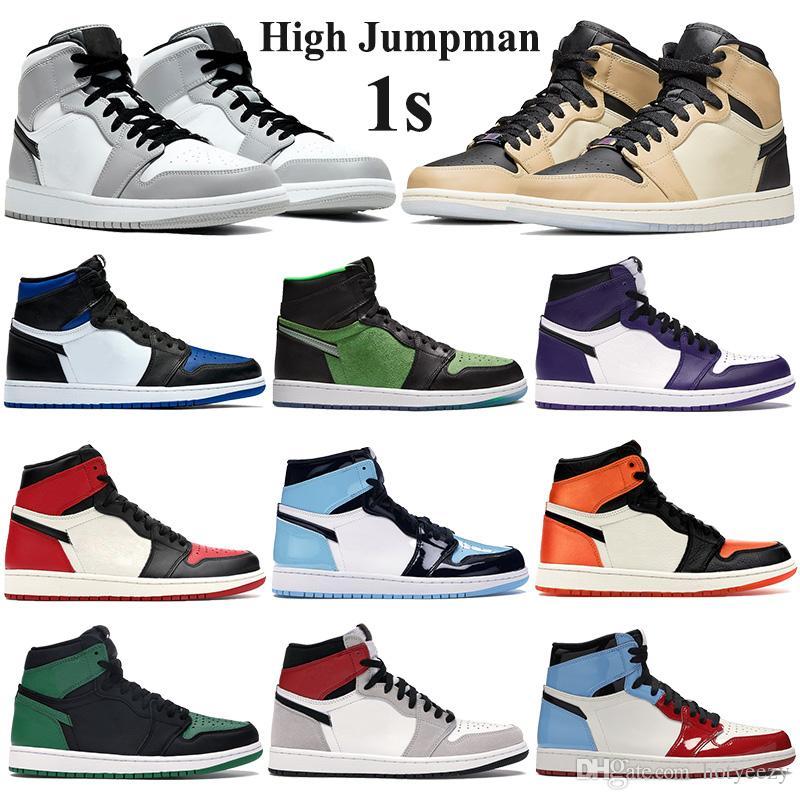 Anahtarlık Lisesi'nin 1s Jumpman Basketbol Ayakkabı ile Orta Açık Gri kraliyet ayak Erkekler Kadınlar atletik spor ayakkabısı siyah mantar UNC Patent Eğitmenler Duman