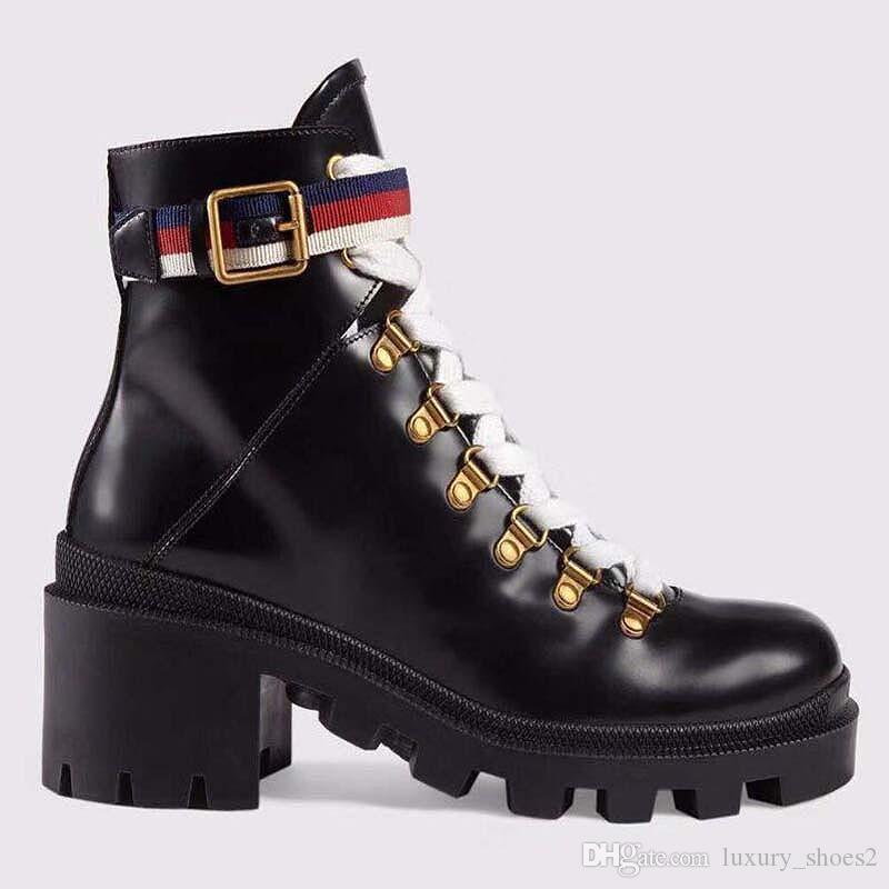 Chaussures en cuir à lacets femme tête ronde bottines boucle de ceinture ruban usine talon directe femme rude automne hiver Martin Bottes y6
