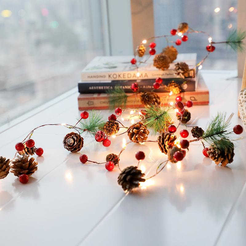 장식 2m 20 개 주도 소나무 콘 문자열 빛 꼬마 전구 크리스마스 장식 인공 식물 홈 결혼식을위한 가을 장식 가을