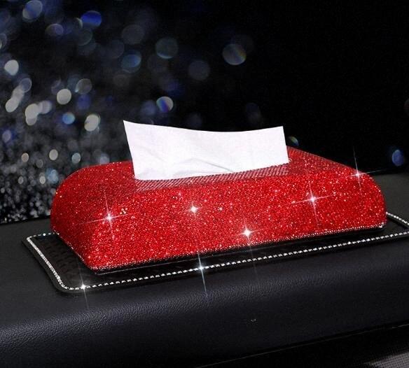 Tam Elmas Kristal Deri Glitter Rhinestones Araba Güneşlik PU Deri Mendil Otomatik Klip Tutucu Kağıt Peçete Aksesuarlar PuPD #