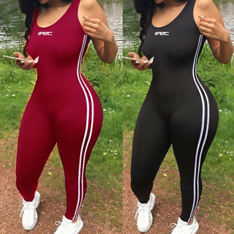 2020 Mulheres de Verão sem mangas Treino Academia Jumpsuit Bodysuit Moda Feminina Casual Clubwear Macacões