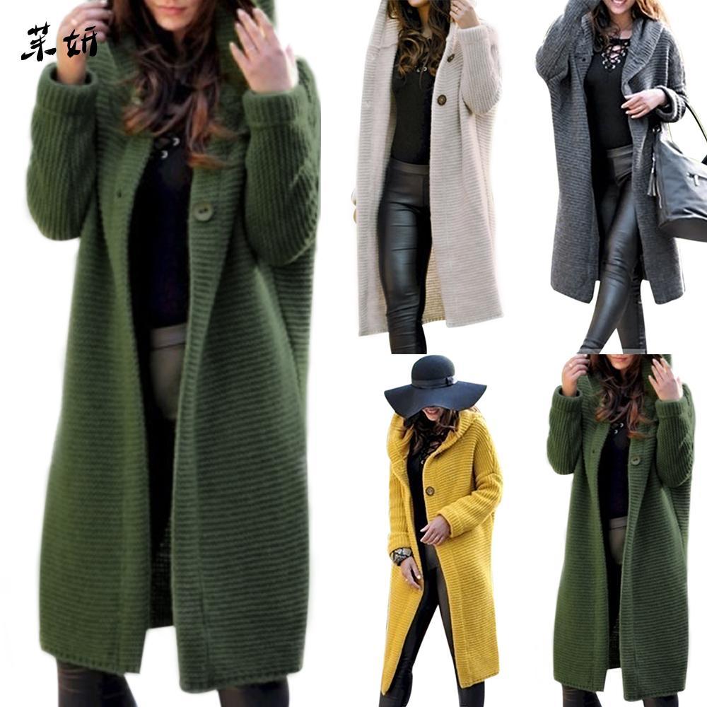 Sonbahar 2019 Kazaklar Uzun Hırka Katı Kapşonlu Triko Coats Kadınlar Örgü Ceket Plus Size 5XL Casual Streetwear mujer T200728