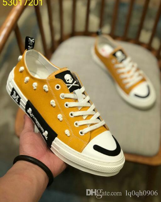 Nueva individualidad diseñador de los hombres ocasional bajas zapatillas de deporte de la lona de conducción bordo del pirata del zapato de lona zapatilla de deporte del cráneo del Hombre 38-44 Espadrille