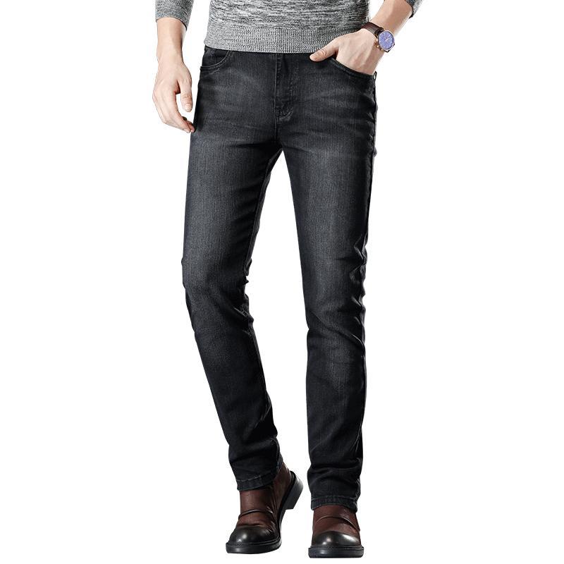 SULEE 2019 Yeni Elastik İnce Pantolon Jean Erkek Moda Günlük Denim Stretch Jeans Siyah Boyut 40