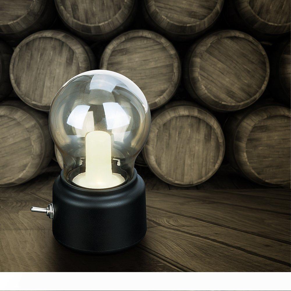 LED Night Light Vintage lampe d'ampoule avec USB Charge portable rechargeable d'économie d'énergie pour chambre à coucher, Coffee House, Nursery, Hall d'entrée Lampe de table