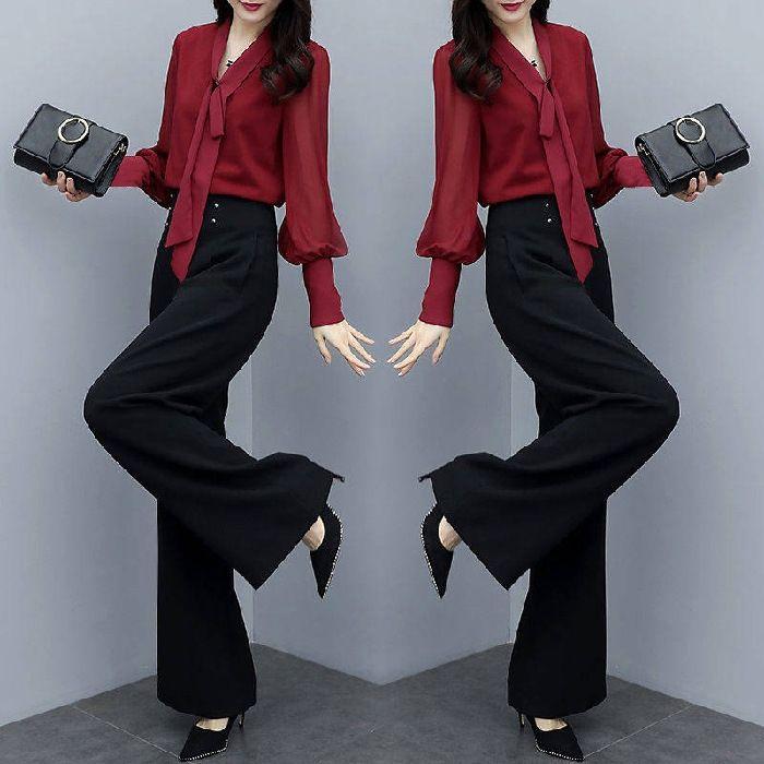 JMTXO J6Jo1 Kore tarzı moda rahat En iyi kadın kol Sonbahar Yeni uzunluğunda 2019 takım elbise gevşek geniş üst Geniş bacak pantolon bacak iki parçalı pantolon lar eant