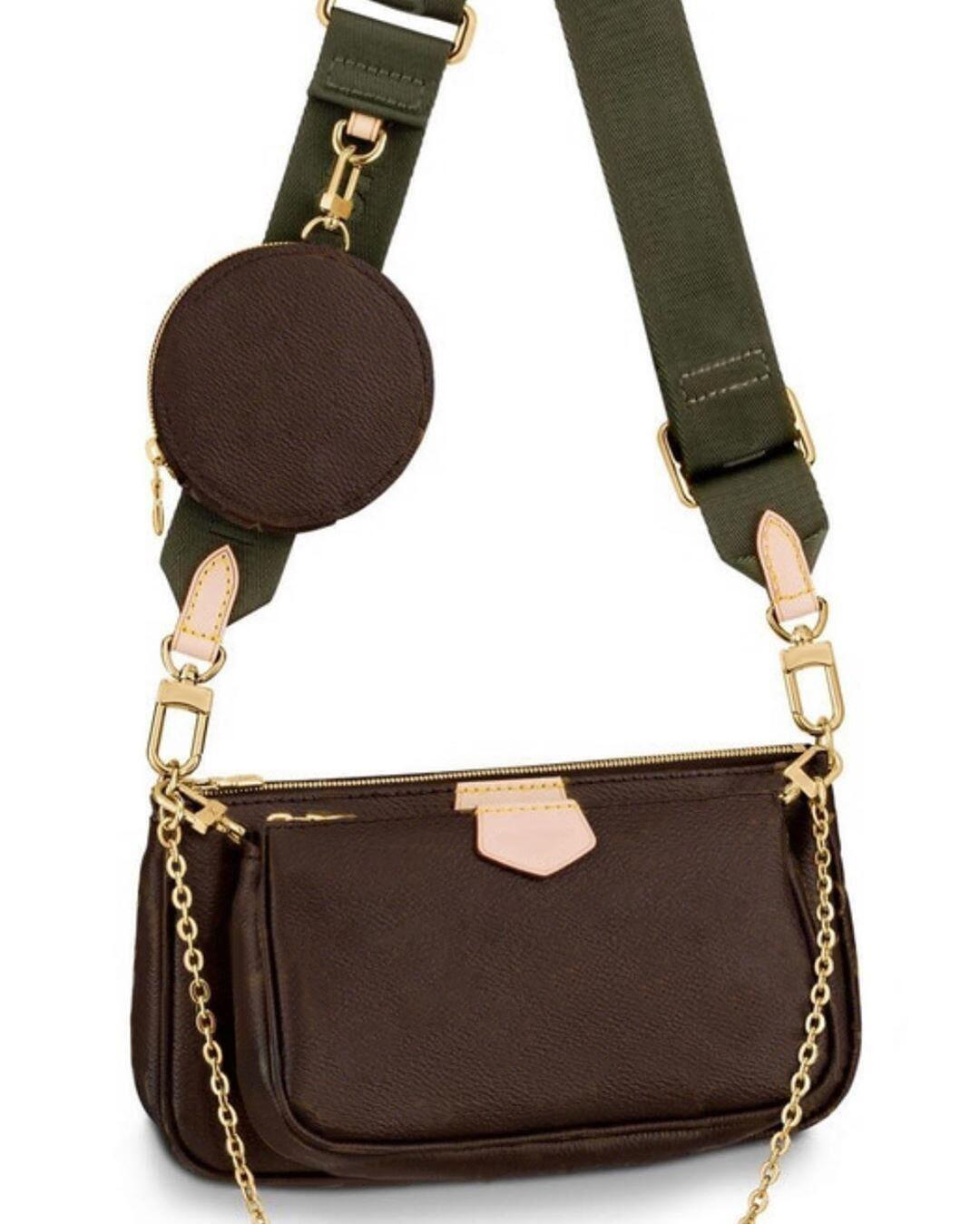 3 pièces / MULTI POCHETTE ACCESSOIRES mis en sac à main en cuir véritable épaule fleur rose dames sac à bandoulière sacs à main
