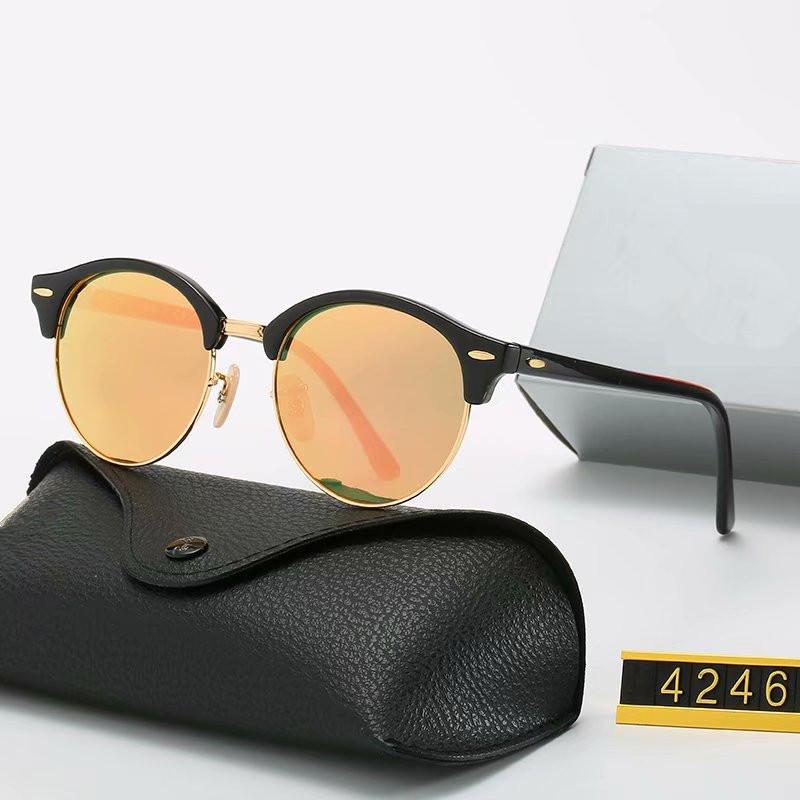 2020 جديدة تصميم كلاسيكي العلامة التجارية النظارات الشمسية جولة الفرقة نظارات معدن ذهب إطار نظارات الرجال النساء نظارات مرآة الزجاج عدسة مع صندوق 4246