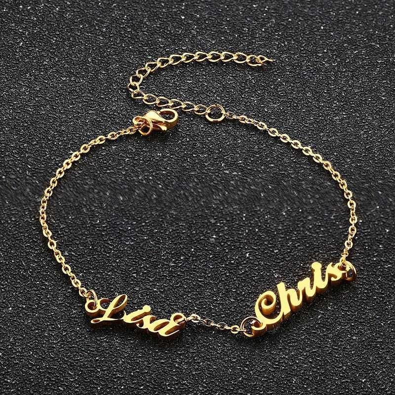 Personalizzato Due Nome del braccialetto per le donne inossidabile di fascino Pesonalized lettere iniziali Bileklik Pulseras TP4b #