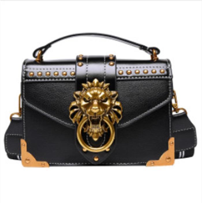 여성 명품 핸드백 2020 복고풍 작은 핸드백 고품질 PU 가죽 크로스 바디 백 리벳 사자 머리 숙녀 어깨에 매는 가방