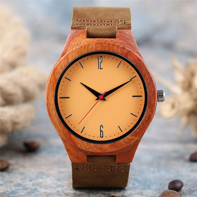 Fashion Classic Natural Wood Watch Bright Color Men's Watches Analog Quartz Display Wristatches Nature Sandalwood Clock Leather Band
