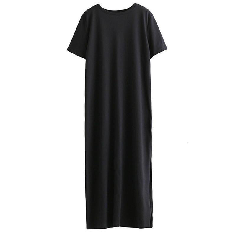 Autunno di base laterale della fessura di livello maglietta lunga Abbigliamento Donna Sesso Abito corto maniche nere New Fashion