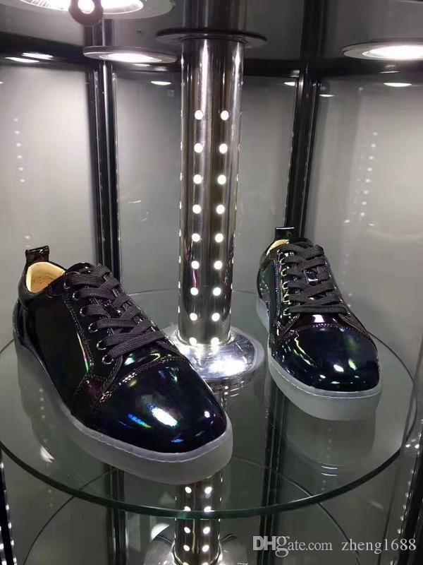 Mode Männer schwarzem Lackleder-Turnschuh-Schuhe luxuriöse rote Sohle Schuhe Low Top Gelegenheits Gehen Frühlings-Herbst-Wohnungen