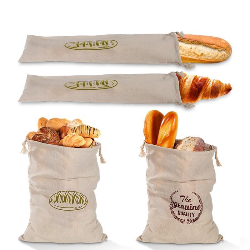 الكتان الرغيف الفرنسي حقيبة قابلة لإعادة الاستخدام الخبز الرباط حقيبة الرغيف الفرنسي الخبز الحقيبة المخابز تخزين 4 قطع / مجموعة الرئيسية مطبخ الخبز حقيبة DHF3