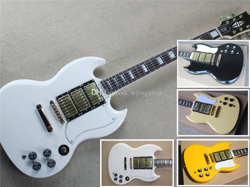 Ücretsiz kargo özel beyaz sarı siyah kırmızı gitar, altın donanım, maun vücut ve boyun, gülağacı parmak tahtası, 22 fret, köprü