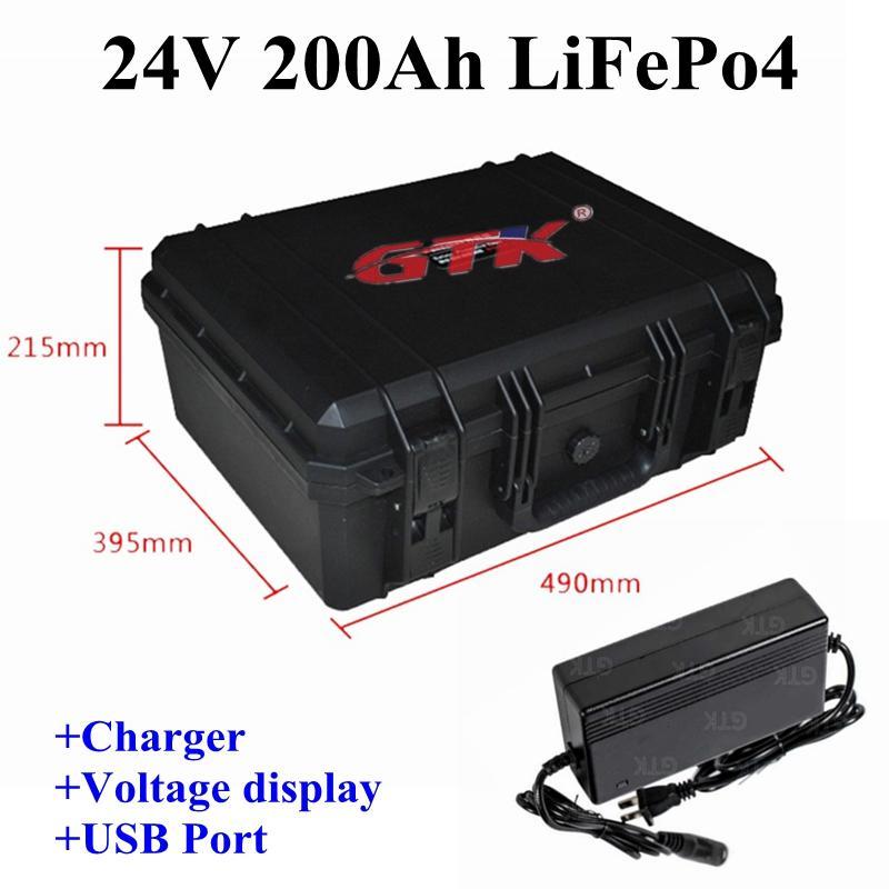 GTK 24v 200Ah waterproof LiFepo4 lithium battery pack for trolling motor camper caravan motorhome solar energy +20A Charger