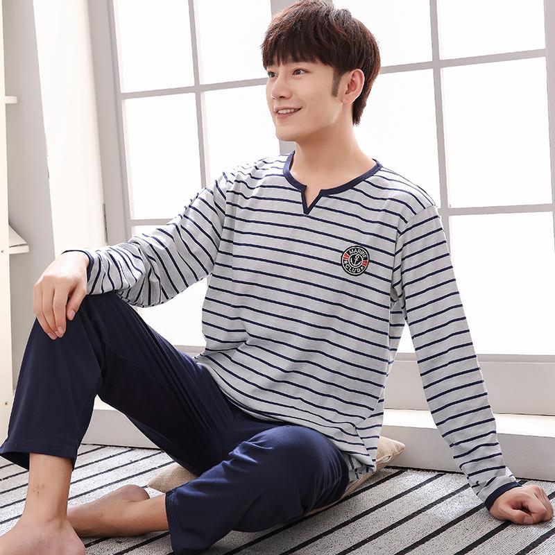 Livraison gratuite et Automne Hiver hommes Pyjama 100% coton Pyjama manches longues Casual Hommes Pyjama Taille Plus L-4XL nuit