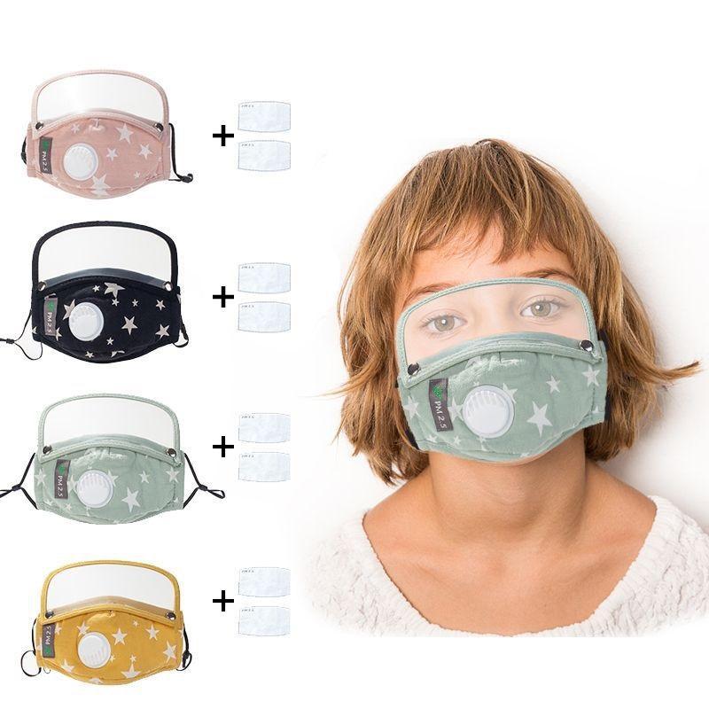 Jungen-Mädchen-Kind-Karikatur-Maske mit Augen-Schild + 2 Stück Filter wiederverwendbare waschbare Gesichtsmasken für Kinder Mund-Mund-Maske Caps