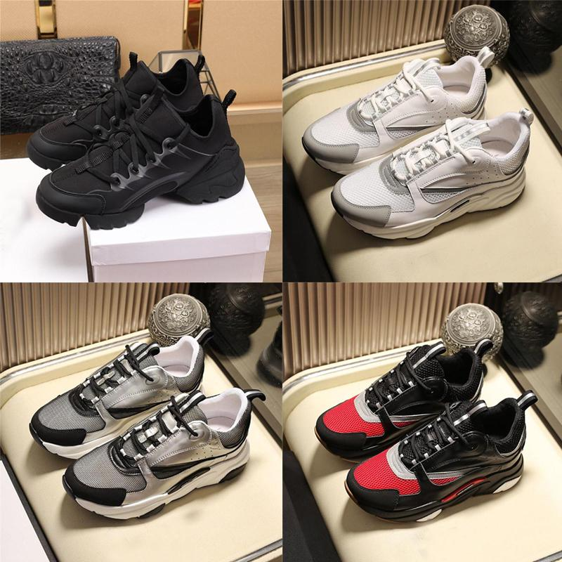 Nueva B22 B23 Hombres Mujeres top del punto bajo zapatos planos de la lona ocasional piel de becerro de Formadores de los zapatos corrientes Obliques blanca Técnica de punto retro remiendo zapatilla de deporte