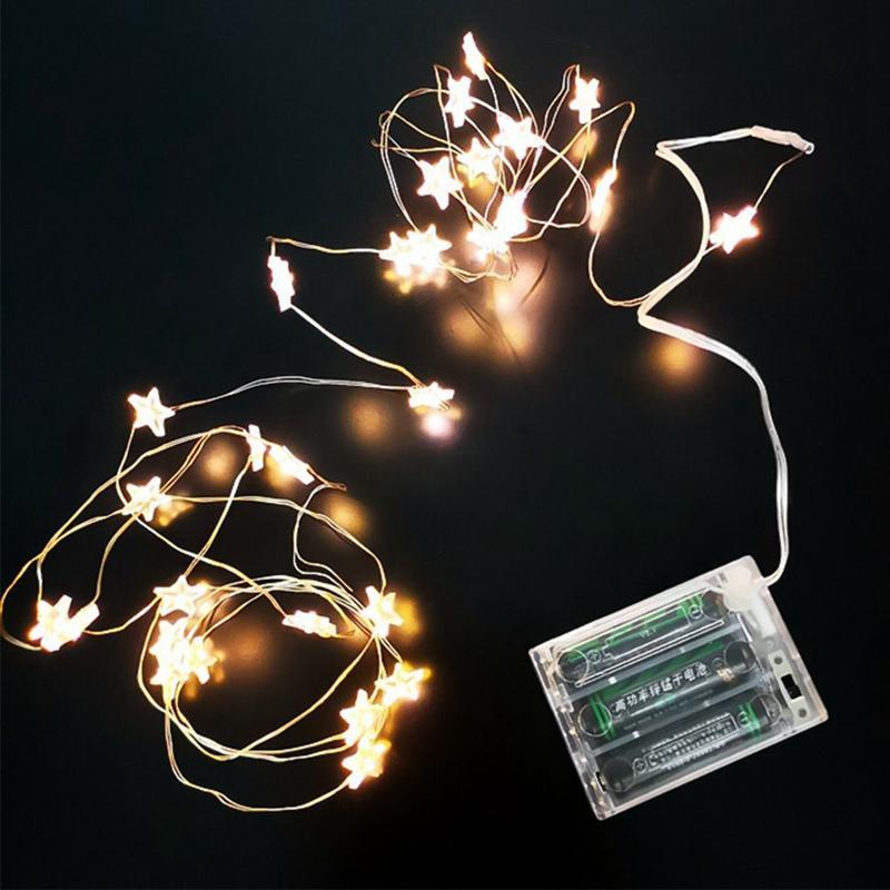 40 la estrella del LED Luz de la secuencia de la batería luz de hadas para el partido de cuerda al aire libre luces de la boda de interior Decoración de Navidad del alambre luces