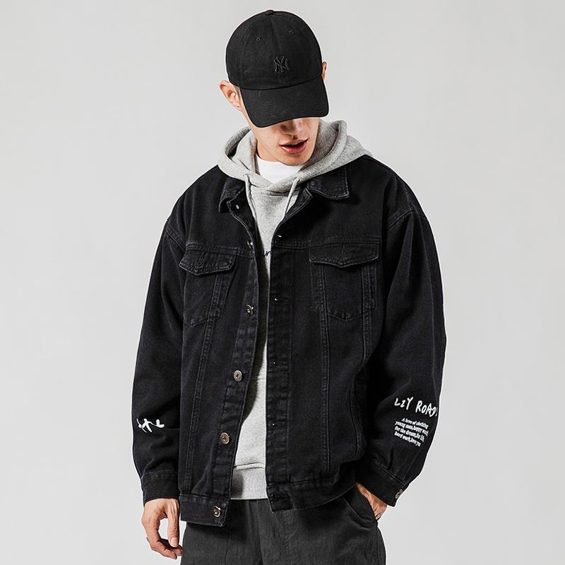 Hombres Carta de Primavera Imprimir Hip Hop Corea chaquetas para hombre 2020 de Corea del dril de algodón de la chaqueta de bolsillos masculinos Streetwear ropa vaquera-d