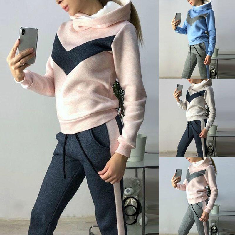 Ternos de inverno Mulheres Tracksuits Sports além de veludo hoodies camisolas Calças executando Set velo Sportswear Quente Thicken Vestuário
