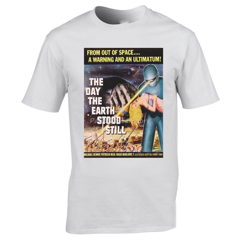 El día que la Tierra se detuvo la camiseta de la ciencia ficción clásico cartel de película de 1951 Los mejores regalos de Navidad T Shirts los hombres de la marca camiseta