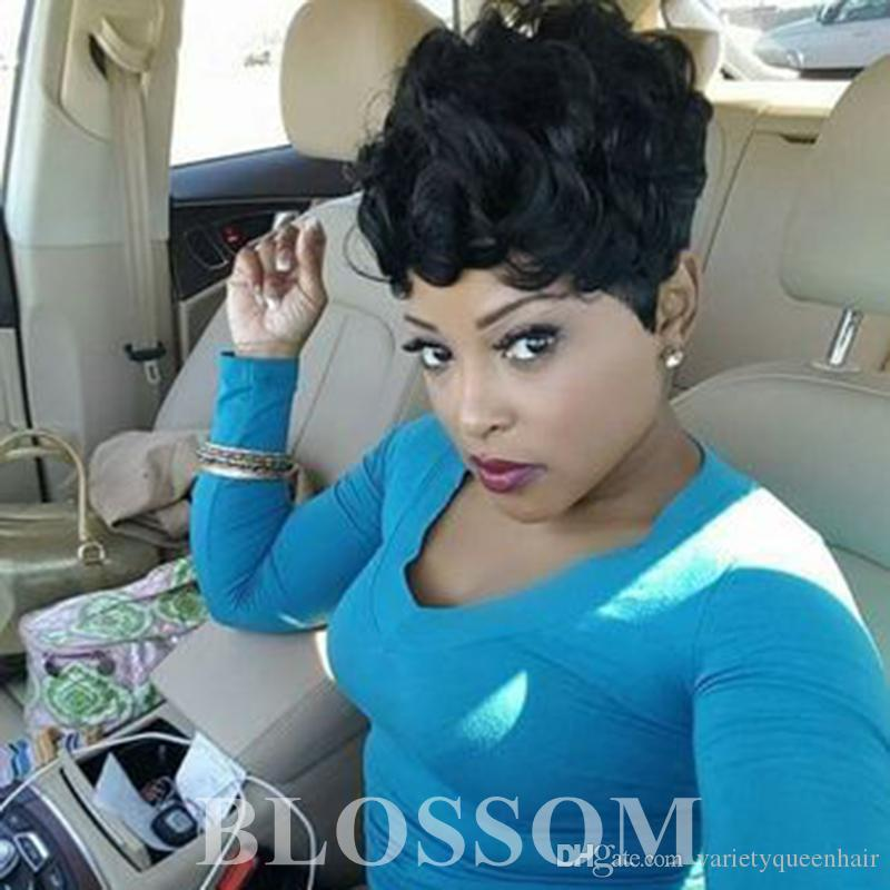 cabello humano corto y rizado pelucas para la brasileña Pixie Cut pelo humano indio Negro Mujeres barato cordón lleno 100% humano pelucas de pelo afroamericano