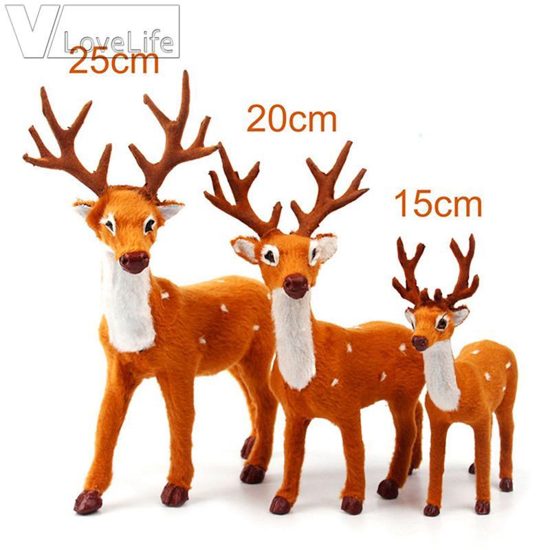 15 20 25cm Ren-Weihnachts Deer Weihnachten Elk Plüsch Simulation Weihnachtsdekorationen für Haus New Year Geschenke Navidad