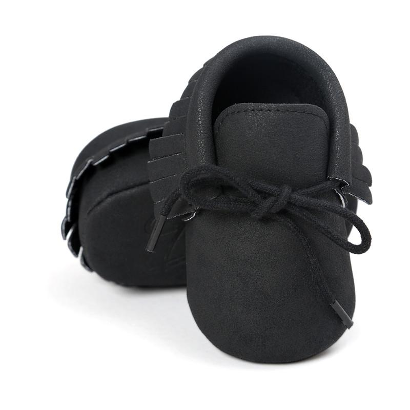 black color Baby Moccasin Baby First Walkers Soft Bottom Non-slip Fashion Tassels Newborn Babies Shoes.CX45C
