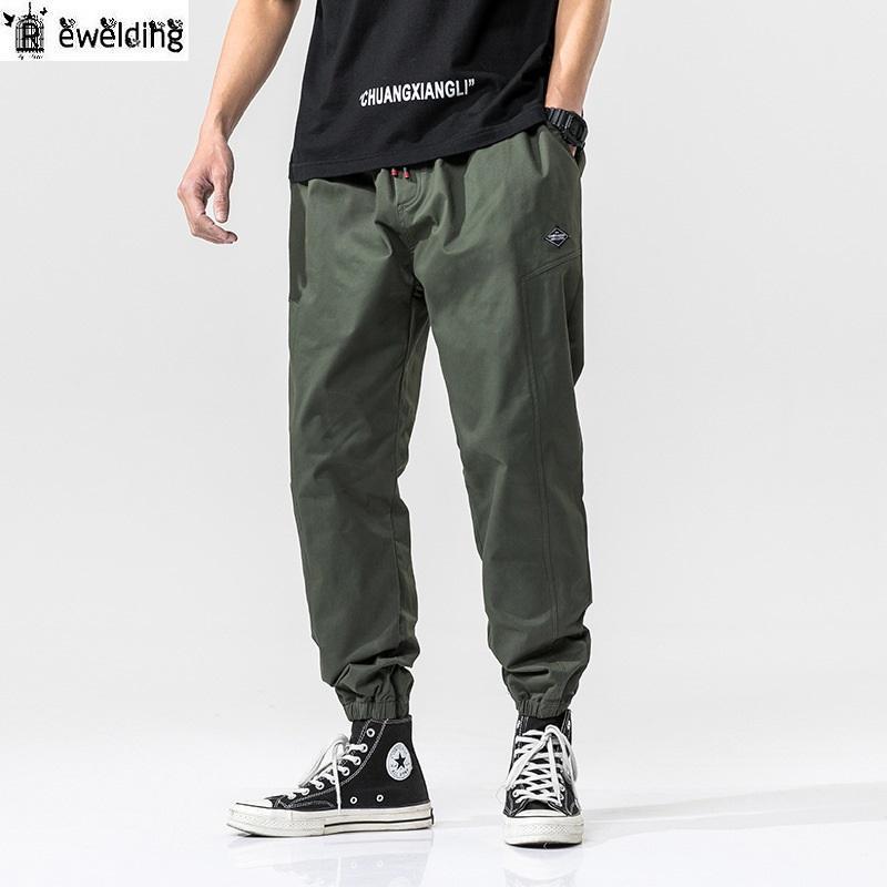 Trend Stil Erkekler Günlük Pantolon İlkbahar Sonbahar Erkek High Street Katı Renk Vahşi Pantolon Düz Kalem Pantolon Erkek