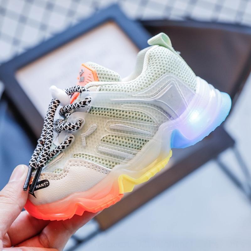 Çocuk 2020 Sonbahar New'in ins babasının spor Şeker spor ayakkabı şeker renk erkek ve koşu ayakkabıları gökkuşağı altını aydınlatma kızlar