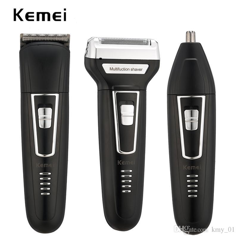 kemei 3 in 1 rechargeable hair trimmer men electric shaver clipper shaving machine nose trimmer beard shaver floating razor