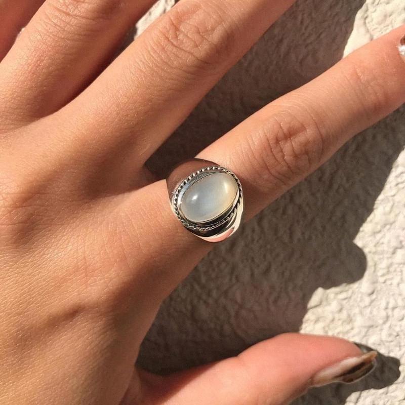 YPAY 100% Подлинная стерлингового серебра 925 Открытые кольца для женщин Корея INS Белый агат Регулируемые кольца перста Fine Jewelry YMR1060 RVER #