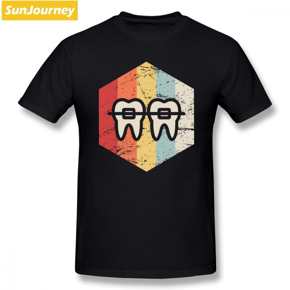 Adam Tee Shirt Komik Erkek T Gömlek Retro Diş Hekimi Ortodontist Grafik Kısa Kollu Pamuk Mürettebat Boyun Artı boyutu T Gömlek