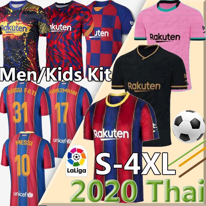 camisa de futebol FC Barcelona 20 21 camiseta de futbol Ansu FATI 2020 2021 Messi Griezmann de Jong Maillots de camisa de futebol Men + crianças kit